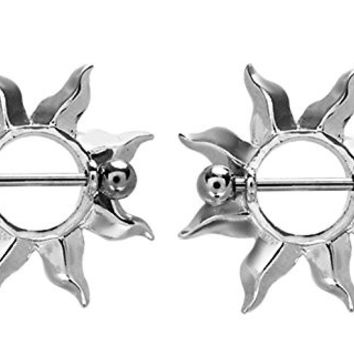 Sun Burst Flames Nipple Shields Rings Barbell Barbells 14g 316L Stainless Steel - Sold as a Pair