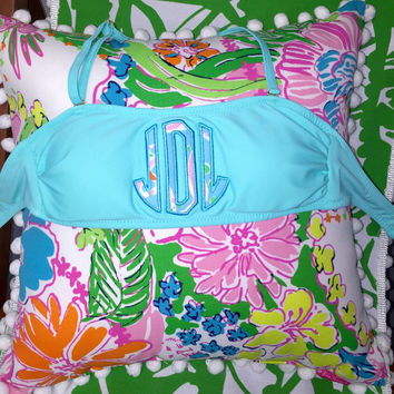 Monogrammed Bandeau with Lilly Pulitzer fabric