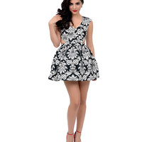 Black & White Damask Cap Sleeve Cut Out Fit & Flare Dress