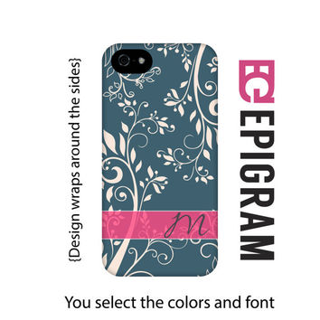 Monogram Samsung Galaxy S6 Edge case, floral Galaxy S6 case, blue Galaxy S5 case, Galaxy S4 case, tough case Galaxy S6, 3D wrap around case