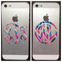 Lilly Pulitzer Inspired Phone Monogram Decal 2 Inches