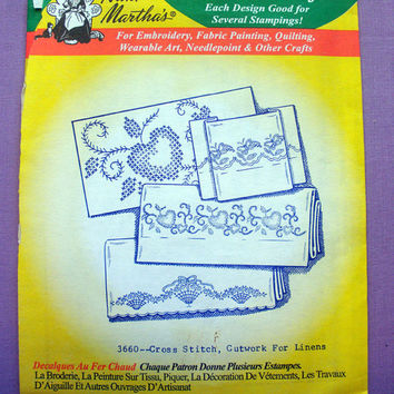 "Aunt Martha's ""Cross Stitch, Cutwork for Linens"" Hot Iron Transfer Pattern 3660 for Embroidery, Fabric Painting, Needle Crafts"
