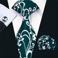 New Arrival Fashion Print Ties For Men High Quality Design Necktie Handkerchief Cufflinks Set For Wedding Party