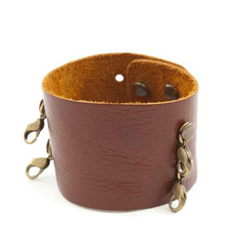 Dark Chestnut Wide Leather Cuff - Lenny and Eva