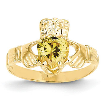 14k November Birthstone Claddagh Ring