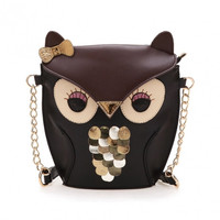 Women's Splicing Color Cross Body Bag Owl Pattern