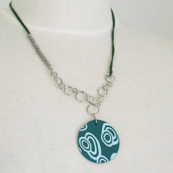 Shade of Green Necklace, Short Circles Necklace, OOAK
