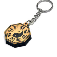 Octagon Yin and the Yang Wood Keychain