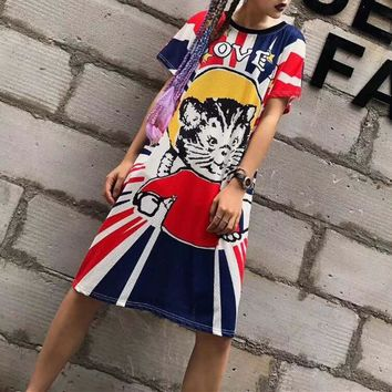 """Gucci""  Loose Casual Fashion Multicolor Universe Cat Print Short Sleeve Middle Long Section T-shirt Dress"