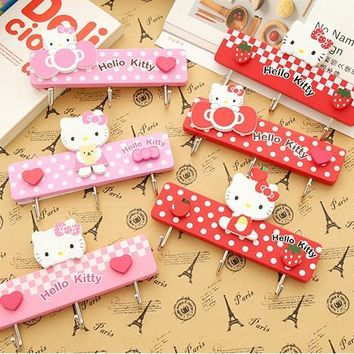1 Pcs Cartoon Hello Kitty Home Door Wardrobe Key Hanger Kitchen Towel Wall Hook