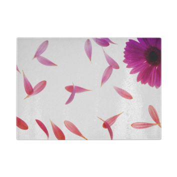 Falling Petals Glass Cutting Board