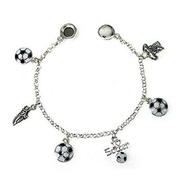 Jewelry Nexus Silvertone White and Black Soccer Theme Charm Bracelet by Shoe Tshirt I Love Soccer