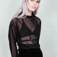 Azrael - Sheer black long sleeve blouse