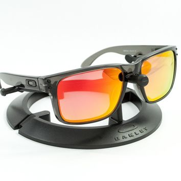 OAKLEY HOLBROOK GREY SMOKE FRAME / REVANT FIRE RED POLARIZED CUSTOM LENSES
