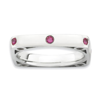 Sterling Silver Stackable Expressions Polished Created Ruby Square Ring