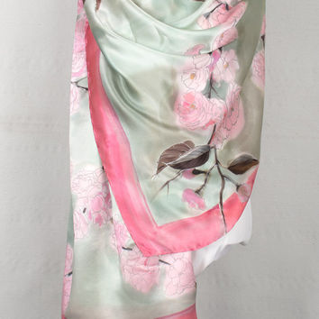 Hand painted silk satin scarf-Blossoms Sakura. Floral Silk Scarf. Pastel pink and grey scarf/ Japanese garden scarf Luxury floral scarf OOAK