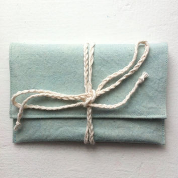 Handmade hand-dyed seafoam green canvas passport wallet - Volcano Store