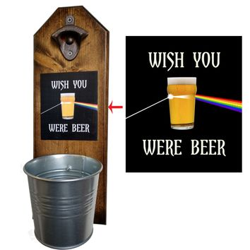Wish You Were Beer Bottle Opener and Cap Catcher, Wall Mounted