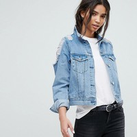 Dr Denim Denim Jacket with Ripped Shoulder Detail at asos.com