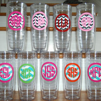 CHEVRON zig zag 24oz Acrylic clear reusable insulated BPA free straw tumbler cup personalized monogrammed