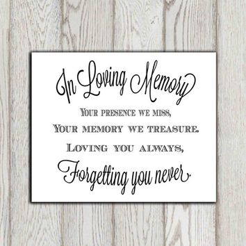 In loving memory of print Memorial table Wedding memorial sign Memorial quotes Your presence we miss ... Memory printable 5x7, 8x10 DOWNLOAD