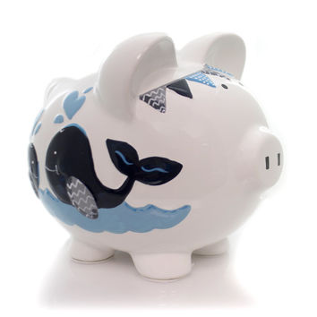 Bank Blue Double Whale Pig Bank Bank