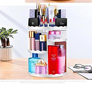 Maxkim 360-Degree Rotating Makeup Organizer, Adjustable Multi-Function Cosmetic Storage Unit, Compact Size with Large Capacity, Fits Different Types of Cosmetics and Accessories, White