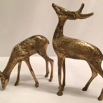 Beautiful Pair of Mid Century Modern Vintage Brass Deer Statues Figures Solid Brass Antlers Grazing