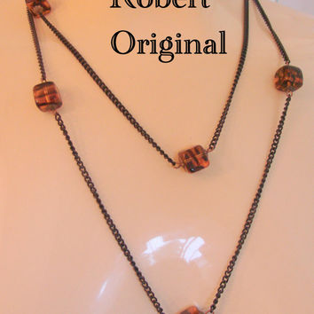 Vintage Original by Robert Necklace / Japanned Chain / Simulated Amber / Designer Signed / Jewelry / Jewellery