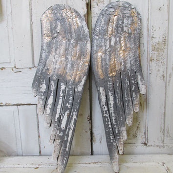 Large wooden angel wings wall sculpture gray white distressed hints of gold home decor Anita Spero