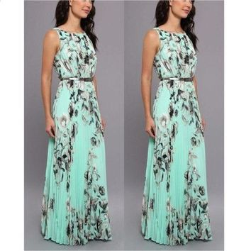 DCCK7XP Women Fashion Summer Sexy Elegant Sleeveless Floral Print Slim Waist Evening Prom Ball Gown Long Maxi Dress