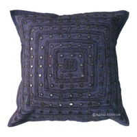 Decorative & Accent Cotton Indian Handmade Embroidery Mirror Throw Pillow