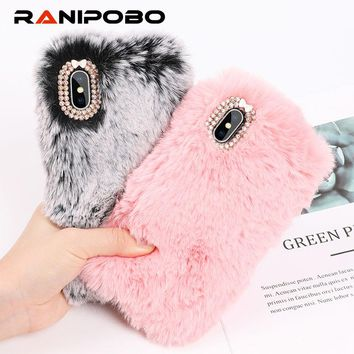 Luxury Warm Rabbit Fur Plush diamond Phone Case For iPhone X 6 6S Plus 7 7Plus 8 Plus Lovely Cute Furry Soft TPU hair Back Cover