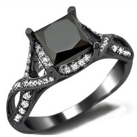 18k Black Gold 2 2/5ct TDW Black Diamond Princess Cut Diamond Ring (E-F,VS1-VS2)