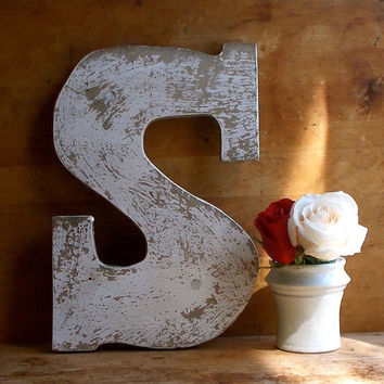 "Vintage Painted Wooden Sign Letter ""S"" - Advertising - Chippy White Signage - Beach, Farm Stand, Cottage Rustic Decor"