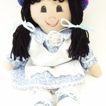 18 inch homemade cloth rag doll black pigtails black eyes tan skin ragdoll, NF91