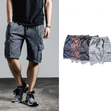 Cargo baggy drawstring mens male boy Sweat jogger Shorts bottom hip hop hemp harem fashion summer solid famous brand clothing