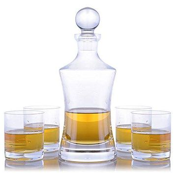 Waterford Vintage Hourglass Whiskey Decanter and 4 Rocks Glasses by Crystalize (5 Piece Set)