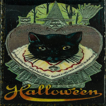 Vintage Halloween Art Handmade Recycled Tile Coaster