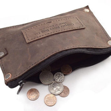 Brown Leather Pouch with Zipper Made in the by theipadtraveler