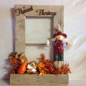 Harvest Blessings Fall Window Box Decor Made from repurposed pallet wood, lasered letters, fall foliage, pumpkins, scarecrow
