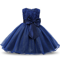 Princess Flower Girl Navy Blue Pageant Dress Sleeveless Floral and Tulle A-Line Frilly Dress 2T to 12Yr
