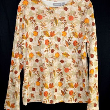 Croft & Barrow Size Large Top Long Sleeves Fall Leaves earth tones Cotton