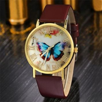 Relojes Mujer 2018 Fashion Women Girl Dress Bracelet Watch Quarzt Clock Butterfly Style Leather Band Analog Quartz Wrist Watch