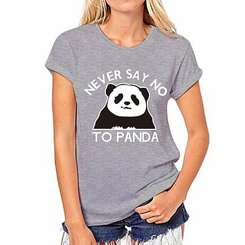 Panda Print Scoop Slim Casual T-shirt