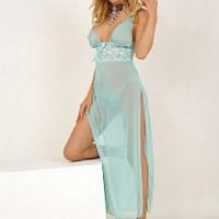 Light Blue Sheer Lace Accent High Slit Long Dress Lingerie