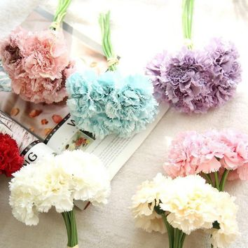 Artificial Fake Flowers Carnations Floral Wedding Bouquet Bridal Hydrangea Decor