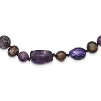 Sterling Silver Amethyst, Lepidolite & FW Cultured Pearl Necklace QH4622