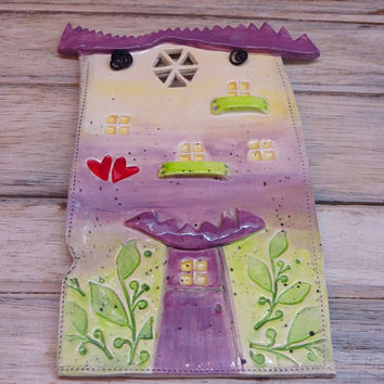 Ceramic house, ceramic wall hanging, clay house, pottery house, house hanging, violet green house, house ornament