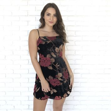Waiting for You Floral Velvet Dress